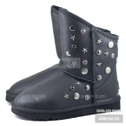 UGG Jimmy Choo Starlite Leather - Metallic Black