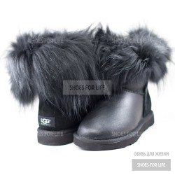 UGG Mini Fox Fur - Metallic Black
