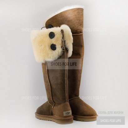 UGG Over The Knee Bailey Button - Chestnut