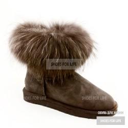 UGG Mini Fox Fur - Chocolate